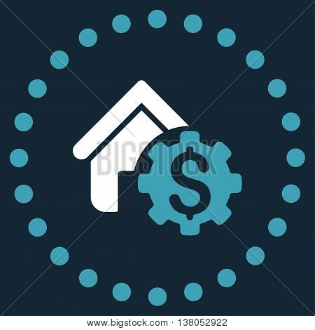 House Rent Options vector icon. Style is bicolor flat circled symbol, blue and white colors, rounded angles, dark blue background.