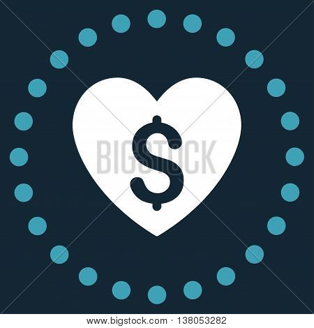Paid Love vector icon. Style is bicolor flat circled symbol, blue and white colors, rounded angles, dark blue background.