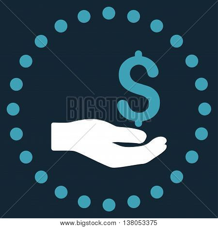 Payment vector icon. Style is bicolor flat circled symbol, blue and white colors, rounded angles, dark blue background.