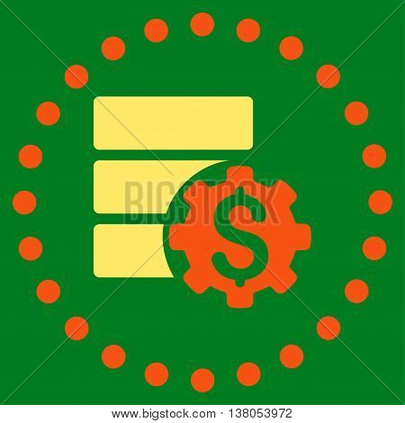 Bank Database Options vector icon. Style is bicolor flat circled symbol, orange and yellow colors, rounded angles, green background.