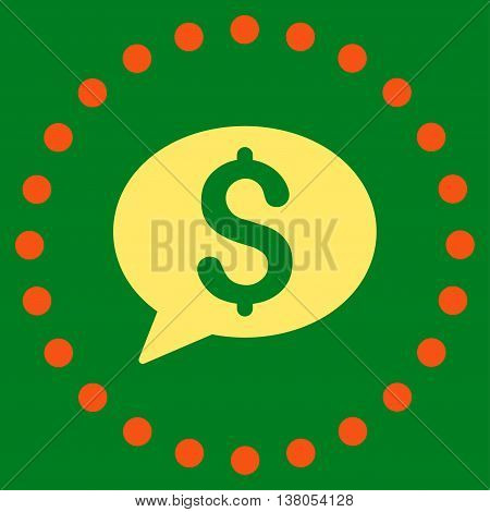 Bank Message vector icon. Style is bicolor flat circled symbol, orange and yellow colors, rounded angles, green background.