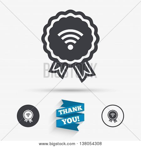 Award Wifi sign. Wi-fi medal symbol. Wireless Network icon. Wifi zone. Flat icons. Buttons with icons. Thank you ribbon. Vector
