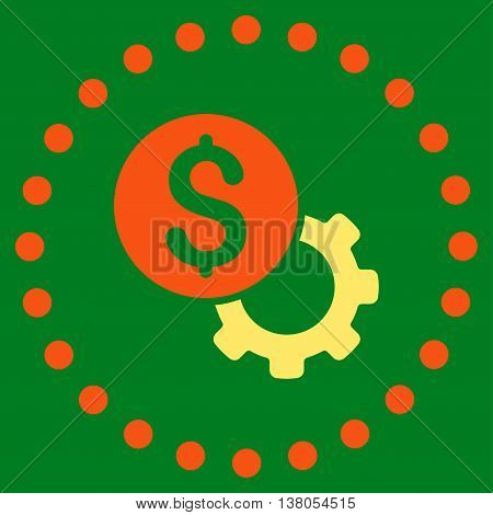 Development Cost vector icon. Style is bicolor flat circled symbol, orange and yellow colors, rounded angles, green background.