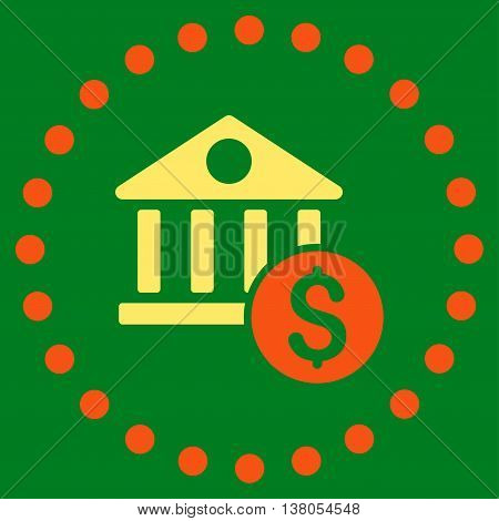 Dollar Bank vector icon. Style is bicolor flat circled symbol, orange and yellow colors, rounded angles, green background.