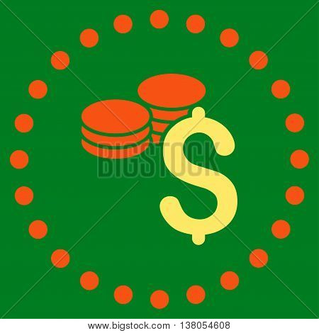 Dollar Coins vector icon. Style is bicolor flat circled symbol, orange and yellow colors, rounded angles, green background.