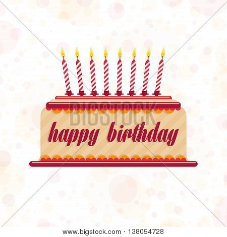 Vector illustration of birthday cake. Beautiful birthday cake with candles for the birthday greetings. Template greeting banner, birthday card.