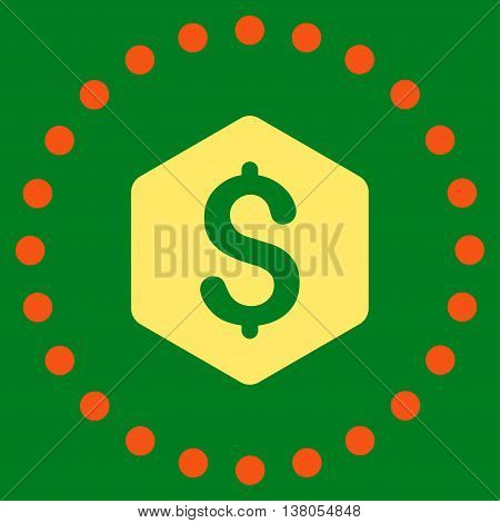 Dollar Hexagon vector icon. Style is bicolor flat circled symbol, orange and yellow colors, rounded angles, green background.