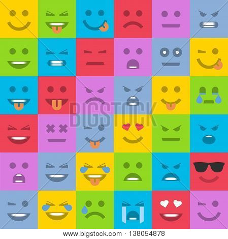 Big set of universal smiles. Set of multicolored emoticons, emoji isolated, vector illustration.