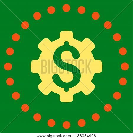 Dollar Options vector icon. Style is bicolor flat circled symbol, orange and yellow colors, rounded angles, green background.