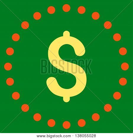 Dollar Symbol vector icon. Style is bicolor flat circled symbol, orange and yellow colors, rounded angles, green background.