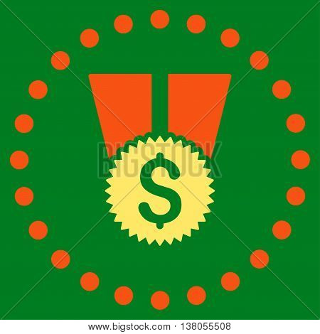 Financial Medal vector icon. Style is bicolor flat circled symbol, orange and yellow colors, rounded angles, green background.