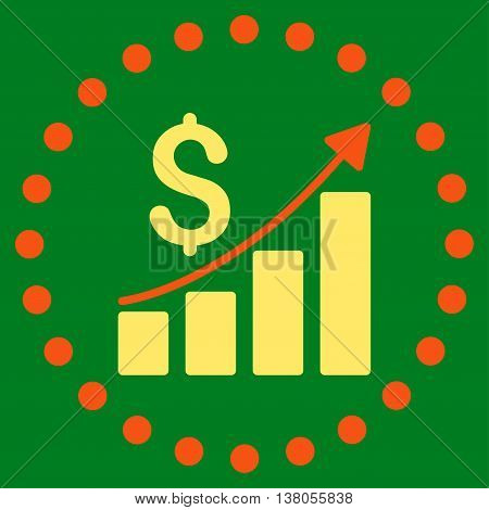 Financial Report vector icon. Style is bicolor flat circled symbol, orange and yellow colors, rounded angles, green background.