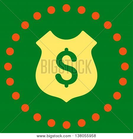 Financial Shield vector icon. Style is bicolor flat circled symbol, orange and yellow colors, rounded angles, green background.