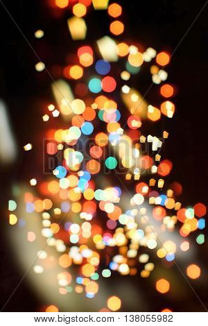 bulbs lights background:blur of Christmas wallpaper decorations concept.holiday festival backdrop:sparkle circle lit celebrations display.