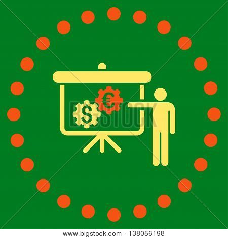 International Banking Project vector icon. Style is bicolor flat circled symbol, orange and yellow colors, rounded angles, green background.