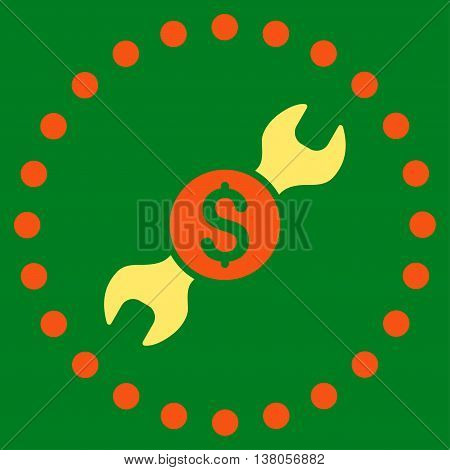 Repair Price vector icon. Style is bicolor flat circled symbol, orange and yellow colors, rounded angles, green background.