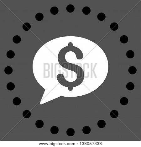 Bank Message vector icon. Style is bicolor flat circled symbol, black and white colors, rounded angles, gray background.