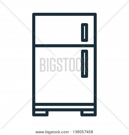 Home appliance fridge isolated flat icon, vector illustration graphic.