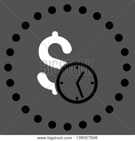 Dollar Credit vector icon. Style is bicolor flat circled symbol, black and white colors, rounded angles, gray background.