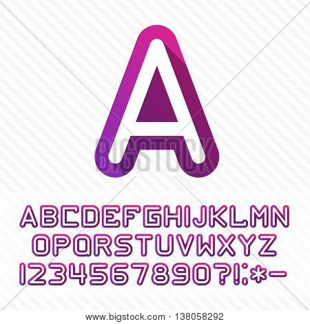 Fun english alphabet one line colorful letters set. Font style, vector design template elements for your application or company.