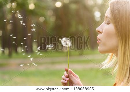 Happy young woman is blowing on dandelion with joy. She is standing and relaxing in nature
