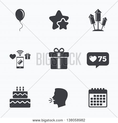 Birthday party icons. Cake and gift box signs. Air balloons and fireworks rockets symbol. Flat talking head, calendar icons. Stars, like counter icons. Vector