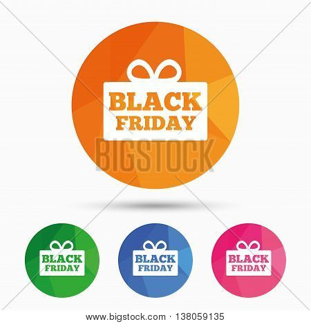 Black friday gift sign icon. Sale symbol. Special offer label. Triangular low poly button with flat icon. Vector