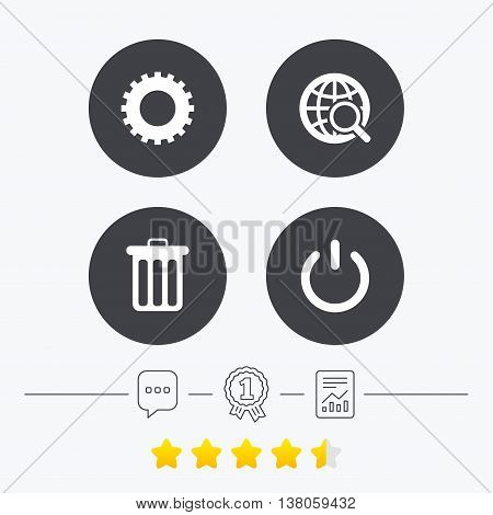 Globe magnifier glass and cogwheel gear icons. Recycle bin delete and power sign symbols. Chat, award medal and report linear icons. Star vote ranking. Vector