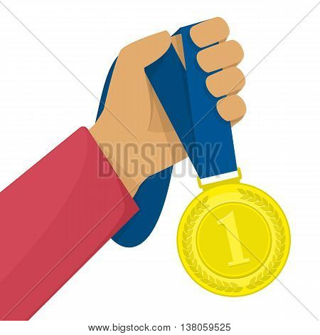 Medal winner competition human hand. Hand holding a winners medal in multi colored concept vector illustration.