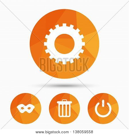 Anonymous mask and cogwheel gear icons. Recycle bin delete and power sign symbols. Triangular low poly buttons with shadow. Vector