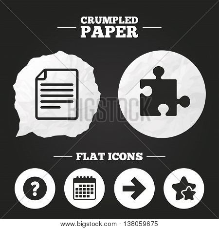 Crumpled paper speech bubble. Question mark and puzzle piece icons. Document file and next arrow sign symbols. Paper button. Vector