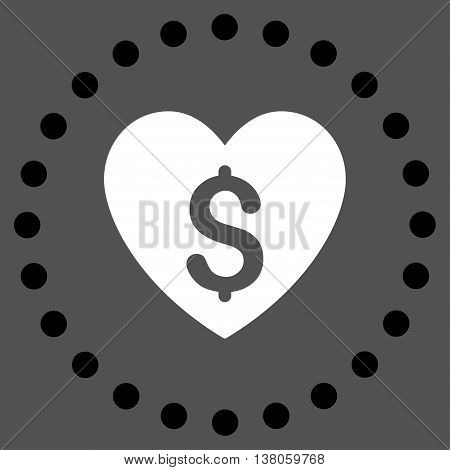 Paid Love vector icon. Style is bicolor flat circled symbol, black and white colors, rounded angles, gray background.