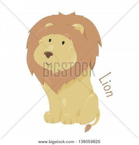 Lion isolated on white. Panthera leo. Big cats in genus Panthera and member of family Felidae. Part of series of cartoon savannah animal species. Sticker for kids. Child fun pattern icon. Vector