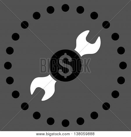 Repair Price vector icon. Style is bicolor flat circled symbol, black and white colors, rounded angles, gray background.