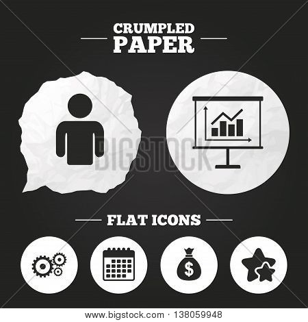 Crumpled paper speech bubble. Business icons. Human silhouette and presentation board with charts signs. Dollar money bag and gear symbols. Paper button. Vector