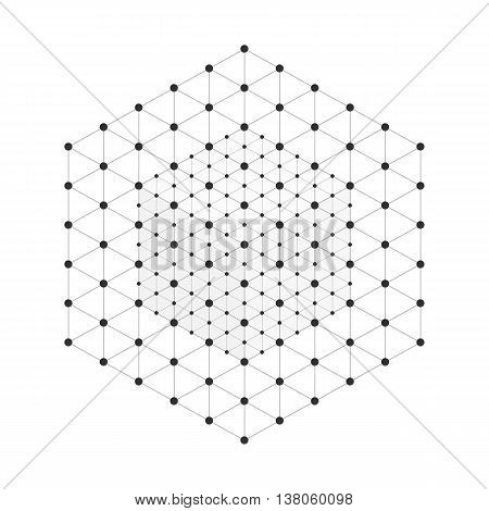 Vector illustration wireframe 3D mesh polygonal vector cube. Network line, design cube, dot and structure.