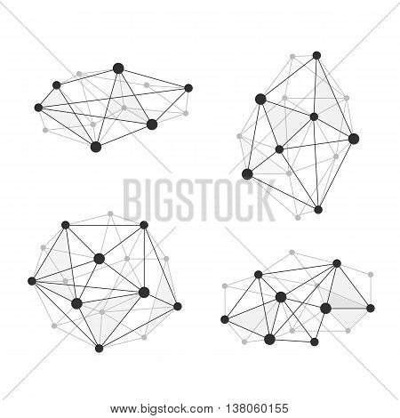 Vector illustration wireframe 3D mesh polygonal vector. Network line, design, dot and structure.