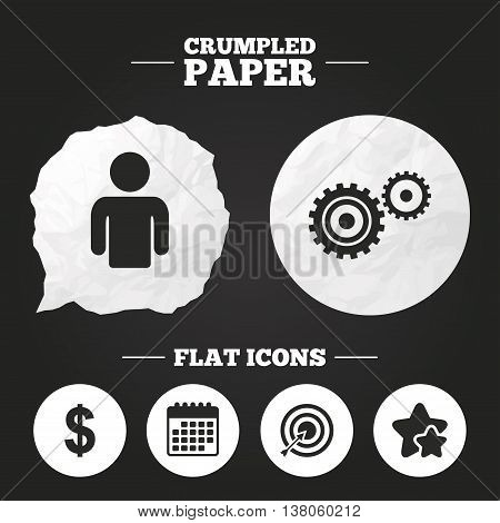 Crumpled paper speech bubble. Business icons. Human silhouette and aim targer with arrow signs. Dollar currency and gear symbols. Paper button. Vector