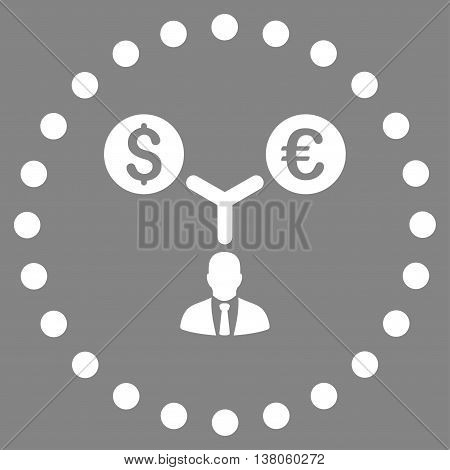 Currency Management vector icon. Style is flat circled symbol, white color, rounded angles, gray background.