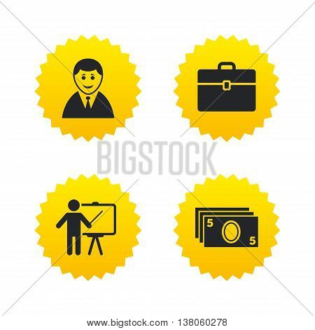 Businessman icons. Human silhouette and cash money signs. Case and presentation symbols. Yellow stars labels with flat icons. Vector