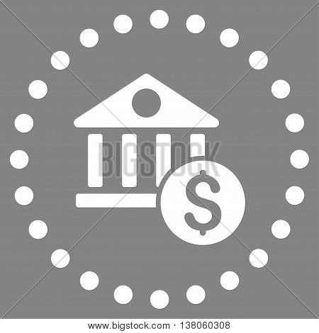 Dollar Bank vector icon. Style is flat circled symbol, white color, rounded angles, gray background.