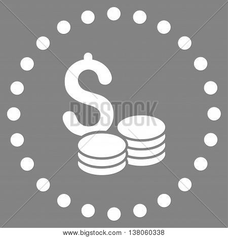 Dollar Cash vector icon. Style is flat circled symbol, white color, rounded angles, gray background.