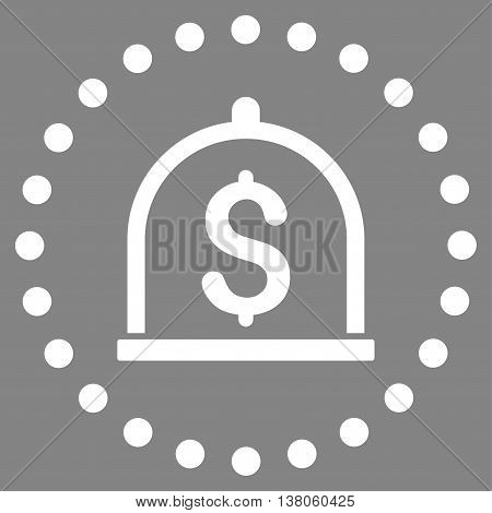 Dollar Deposit vector icon. Style is flat circled symbol, white color, rounded angles, gray background.