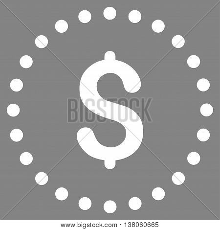 Dollar Symbol vector icon. Style is flat circled symbol, white color, rounded angles, gray background.