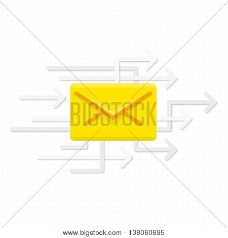 Stock Vector E-mail letter on the background of arrows . Yellow post letter flies to the recipient.