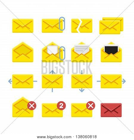 Set of vector icons e-mail. Yellow icons mail letter, e-mail in a flat style for use in your design layouts and web applications.