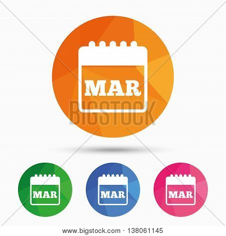 Calendar sign icon. March month symbol. Triangular low poly button with flat icon. Vector