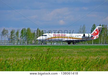 ST PETERSBURG RUSSIA - MAY 11 2016. VP-BVK Rusline Airline Canadair Regional Jet CRJ-100ER airplane. Airplane rides on the runway after landing in Pulkovo International airport in St Petersburg