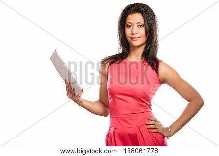 Mixed Race African Woman Using Pc Tablet.