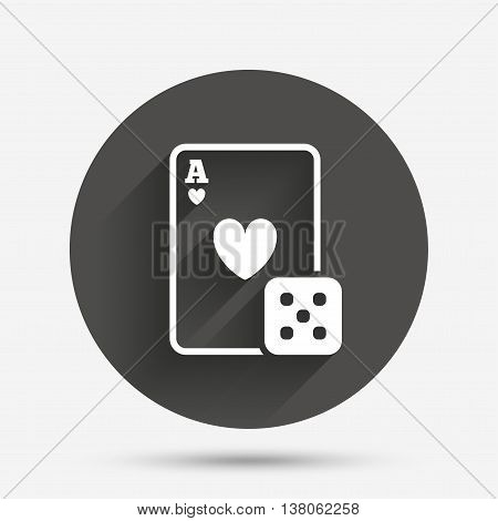 Casino sign icon. Playing card with dice symbol. Circle flat button with shadow. Vector